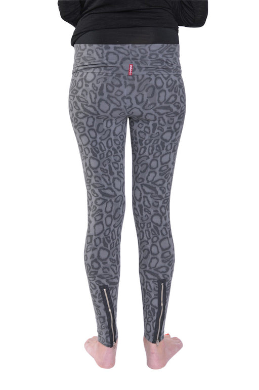 Hard Tail back zip roll down leggings (black/grey print)