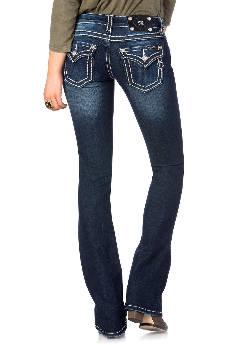 Miss Me Loose Saddle Stitch Border Midrise bootcut jeans