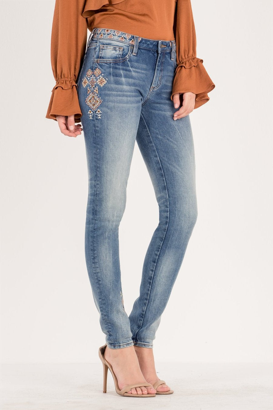 Miss Me Tribal patterned skinny ankle jeans
