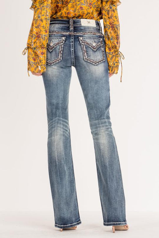 Miss Me Embroidered border mid-rise bootcut jeans - up to size 32,33,34