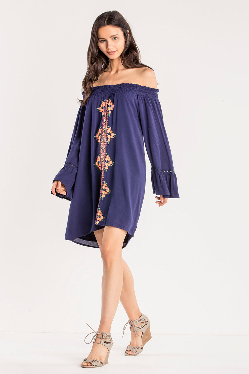 Miss Me Retro off the shoulder dress