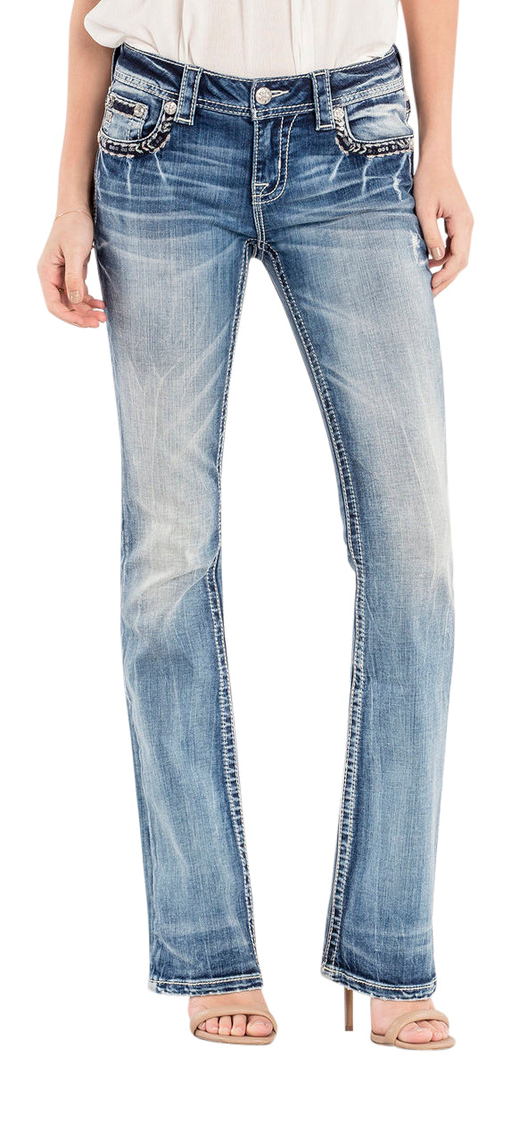 Miss Me Bounderies Mid-Rise Bootcut Jeans- up To Size 32,33,34