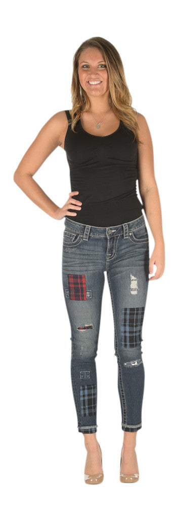 Miss Me Patchwork mid rise women's skinny jeans