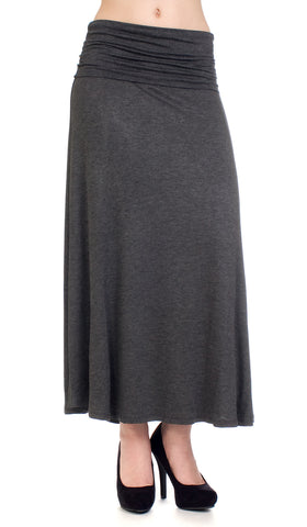 Popular Basics charcoal grey roll down maxi skirt