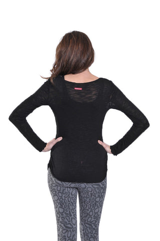 Hard Tail knit sinched side top - black