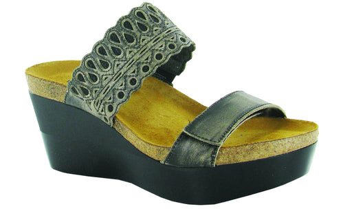 Naot Women's Rise sandals in Vintage Gray/Black Crackle Leather