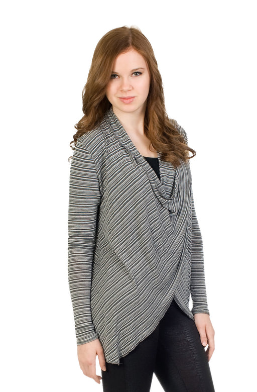 Hard Tail Double Drape Striped Top