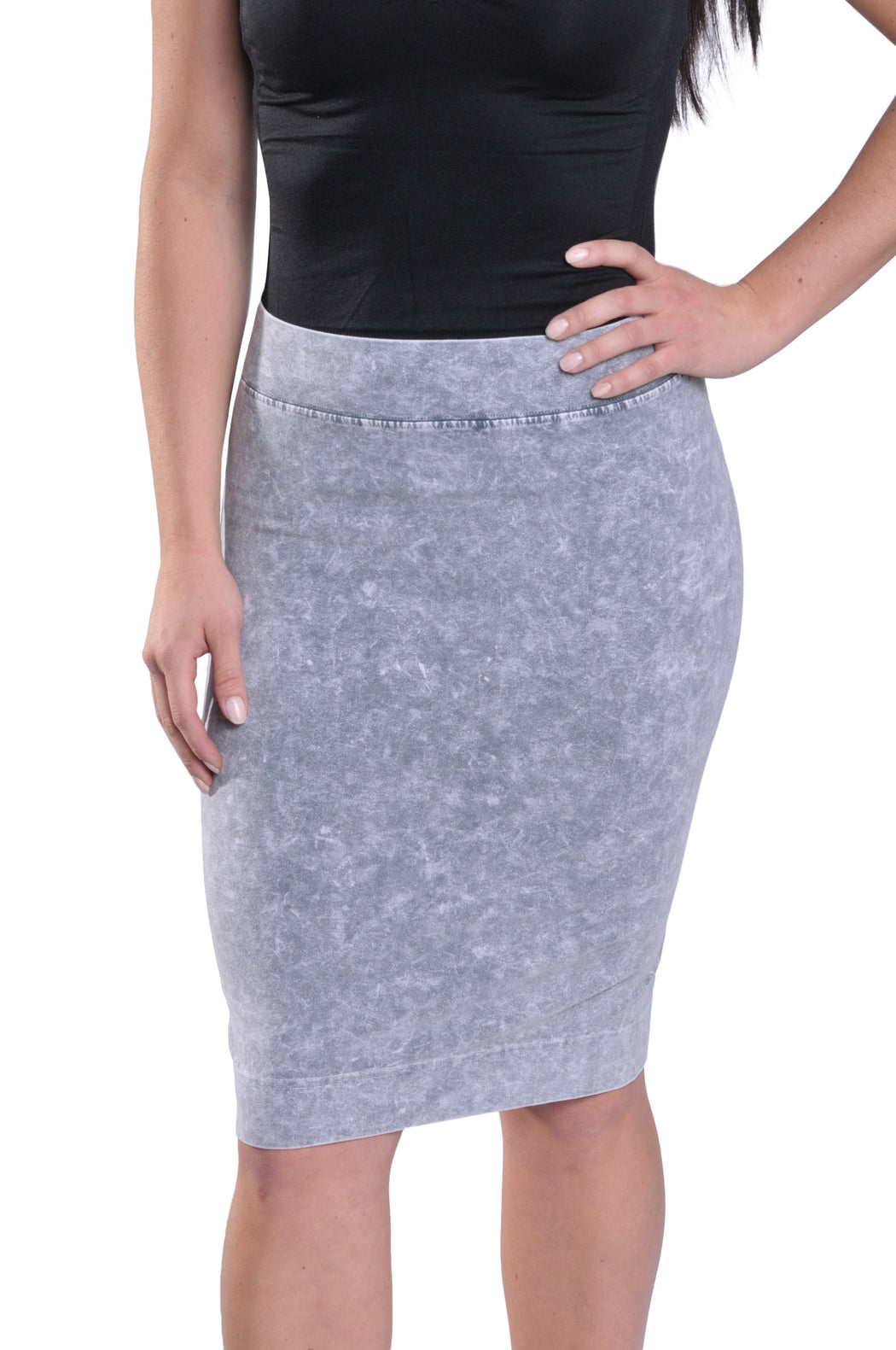 Hard Tail skinny knee pencil skirt (light grey mineral wash)