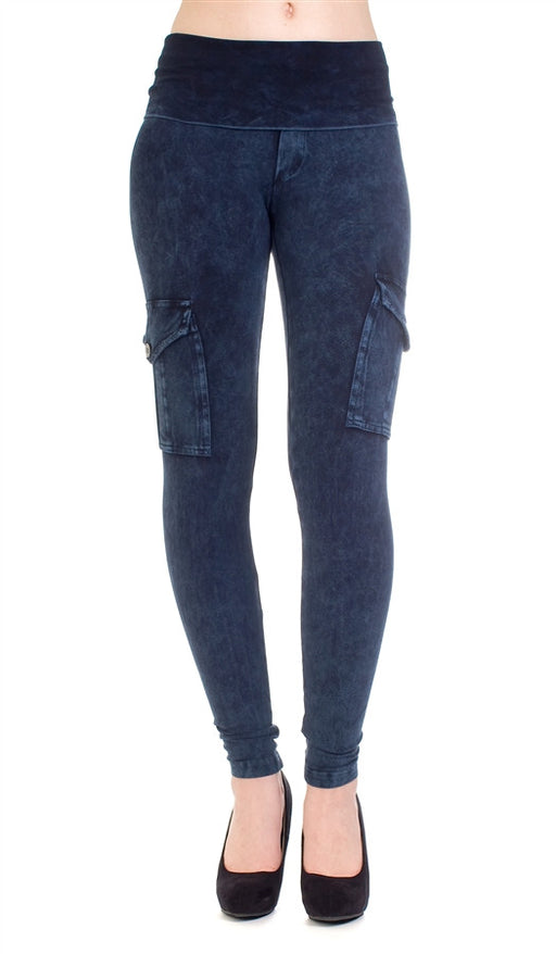 Hard Tail Contour rolldown skinny ankle leggings in navy mineral wash
