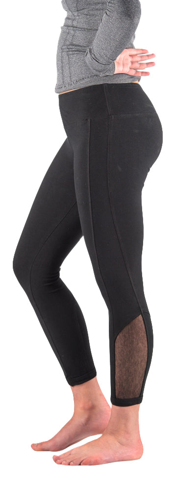 Hard Tail flat waist womens mesh leggings (black)