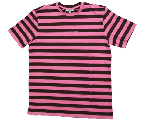 BROWN/PINK STRIPED SHIRT