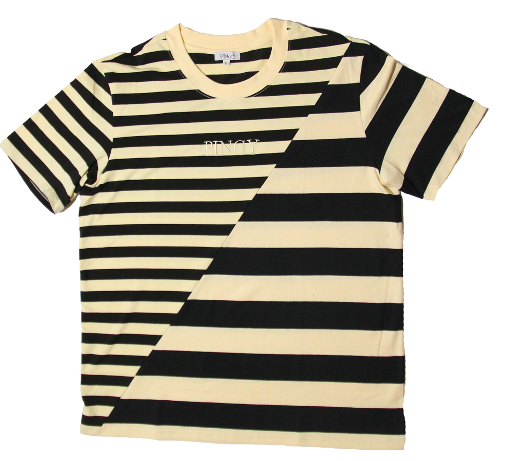 BLACK/CREAM STRIPED SPLIT SHIRT 2