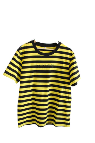 YELLOW/BLACK STRIPED SHIRT