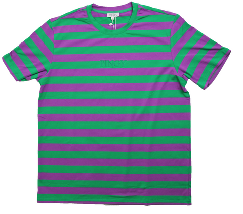 GREEN/PURPLE STRIPED SHIRT