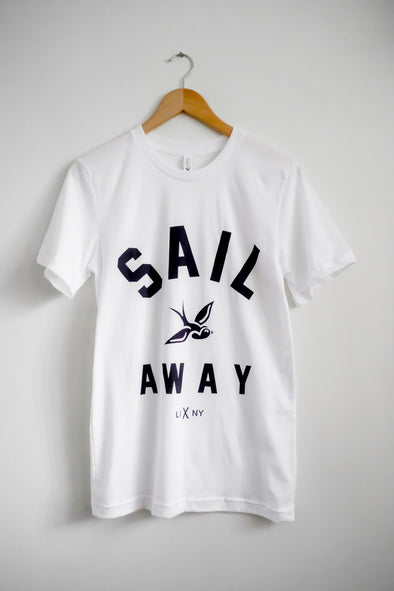 white tee Sail Away coffee