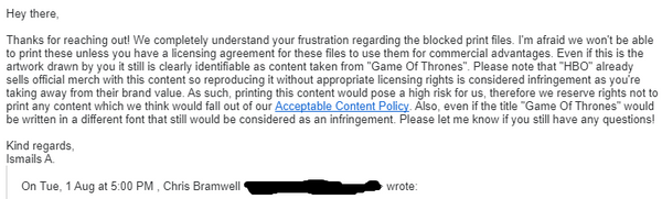 copyright notification email