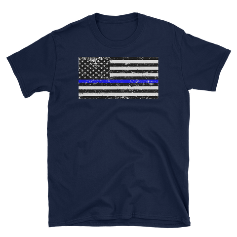 Thin Blue Line Distressed U.S. Flag T-Shirt - The 2nd Tee Shop Tees