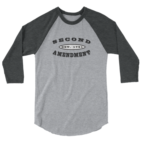 Second Amendment 3/4 Sleeve Shirt With Black Text - The 2nd Tee Shop Long Sleeve Tee