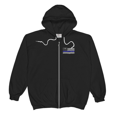 Back The Blue - The Thin Blue Line Unisex  Zip Hoodie - The 2nd Tee Shop hoodie