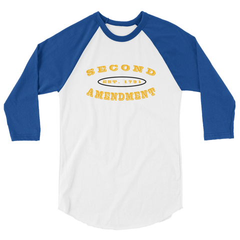 Second Amendment 3/4 Sleeve Raglan Shirt with Gold Text - The 2nd Tee Shop Long Sleeve Tee