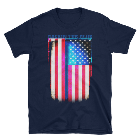 Backin The Blue T-Shirt - The Thin Blue Line Distressed Colored Flag - The 2nd Tee Shop Tees