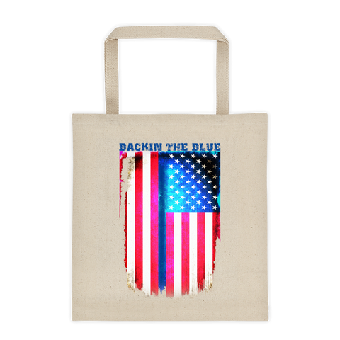Bright Colored Backin the Blue American Flag Canvas Tote - The 2nd Tee Shop