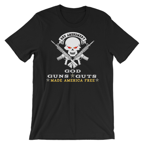 Second Amendment God Guns Guts Made America Free Short Sleeve t-shirt - The 2nd Tee Shop Tees