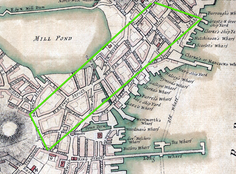Boston Map 1775 showing the North End and Hanover Street