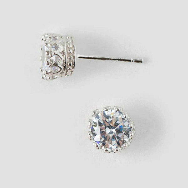 Women's Sterling Silver Royal Crown Diamond Stud EarringsStud Earrings,  - Things to Zen About