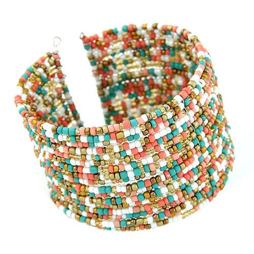 Wide Hand-Crafted Multi-Strands Beads Cuff Bangle BraceletBeaded Cuff Bracelet,  - Things to Zen About