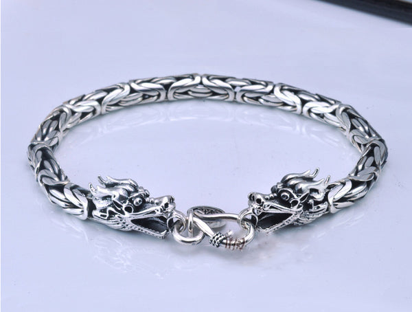 Artisan-Crafted Legendary Dragon Head Bracelet in Solid-Weight 925 Sterling SilverBracelets,  - Things to Zen About