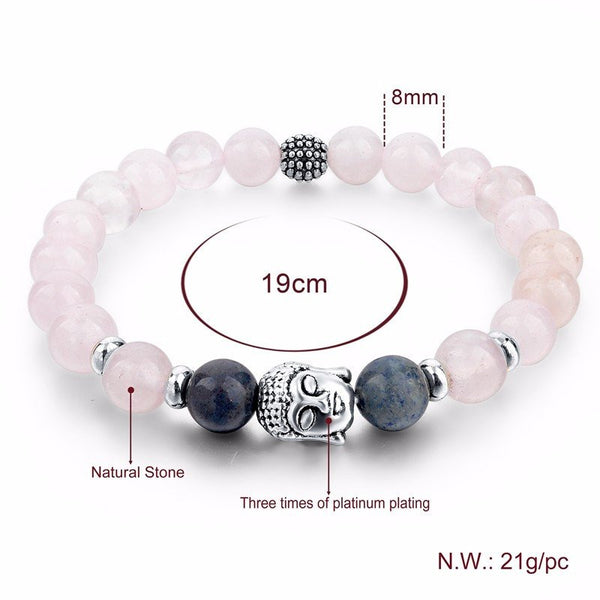 Pink and Blue Natural Stones Beaded Bracelet with Buddha AccentBracelets,  - Things to Zen About