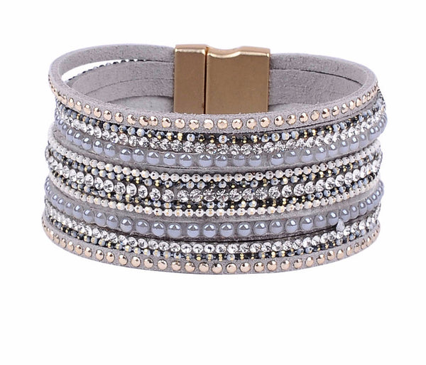 Genuine Leather Wrap Style Bracelet with Line-Up Accents and Magnetic ClosureBracelets,  - Things to Zen About