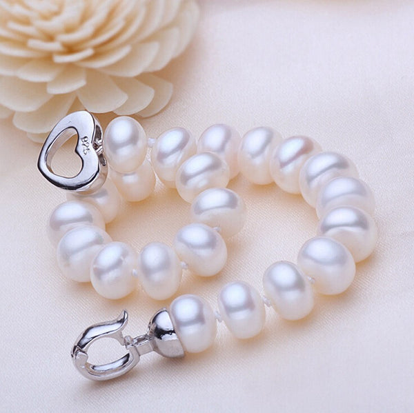 Freshwater Pearl Bracelet with Sterling Silver Heart ClaspBracelets,  - Things to Zen About