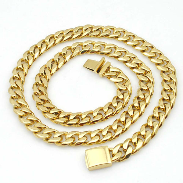 Men's 18k Gold-plated Stainless Steel Heavy Link Chain Necklace and Bracelet SetBracelets,  - Things to Zen About