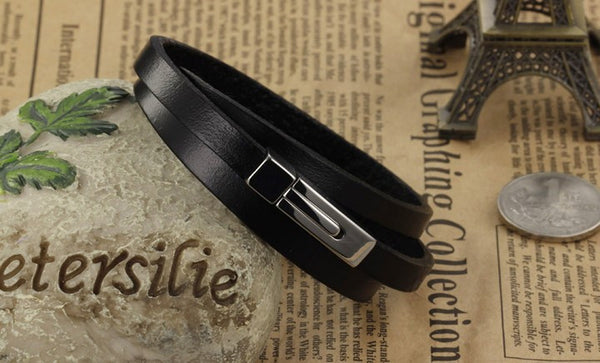 Men's Genuine Leather and Stainless Steel Bracelet with Magnetic ClosureBracelets,  - Things to Zen About