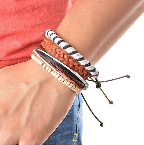 Bracelets - Multi-Strand Adjustable Leather, Wood Beads And Rope Bracelet Sets - 4 Pieces