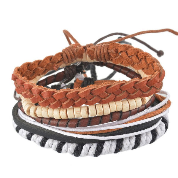 Multi-Strand Adjustable Leather, Wood Bead and Rope Bracelet SetsBracelets,  - Things to Zen About