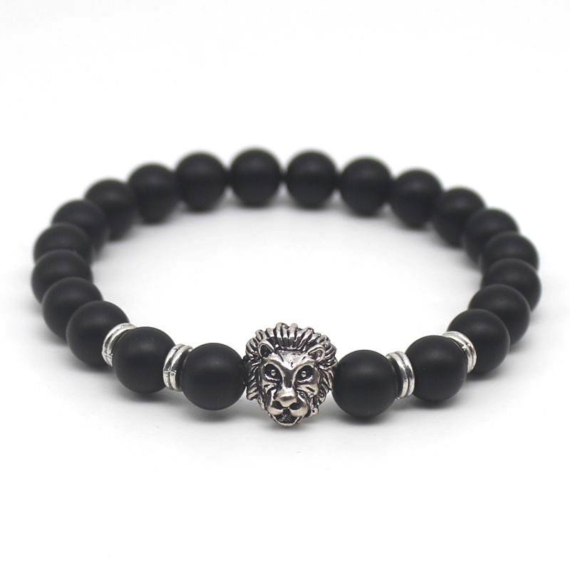 54fd377f2c890 Natural Black Lava Stone Bracelet with Lion Head Accent – Things to ...