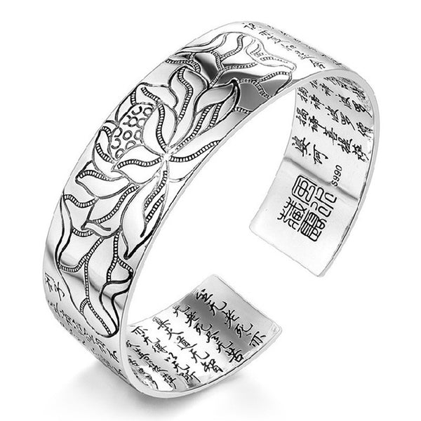 Silver Lotus Flower Cuff Bracelet with Buddhist ScripturesBracelets,  - Things to Zen About