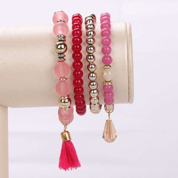 Women's Multi-Layer Bead and Charms Stretch BraceletBracelets,  - Things to Zen About