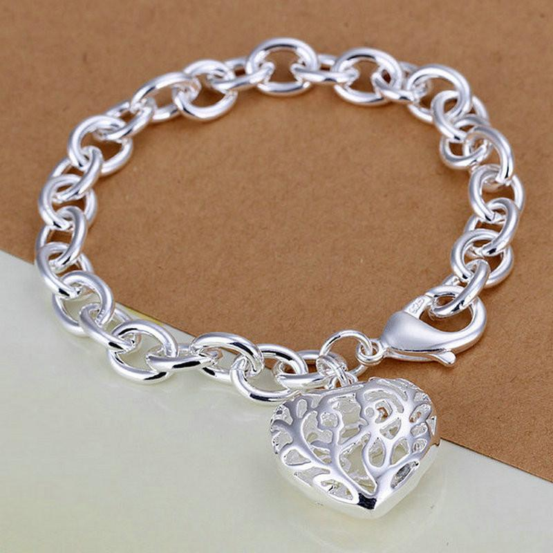 Sterling Silver Link Bracelet with Filigree Heart CharmChain & Link Bracelets,  - Things to Zen About