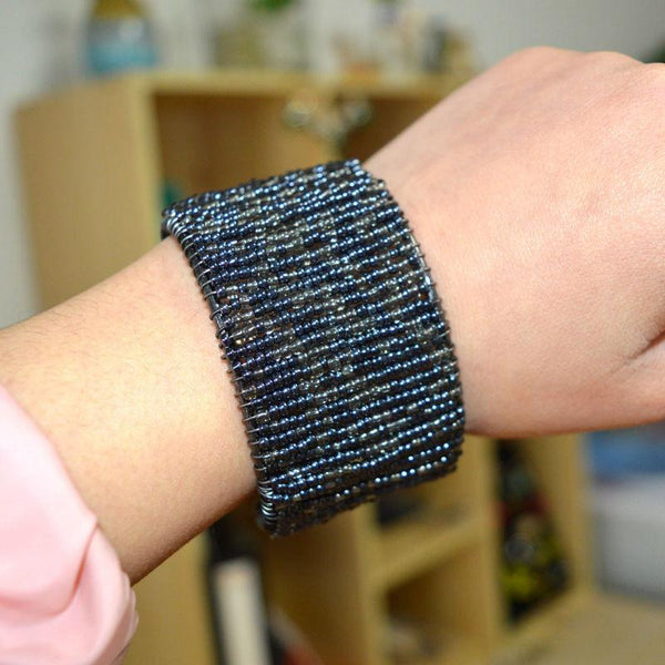 Handcrafted Beaded Cuff Bracelet with Grey and Blue Hues, Fully AdjustableCuff Bracelet,  - Things to Zen About