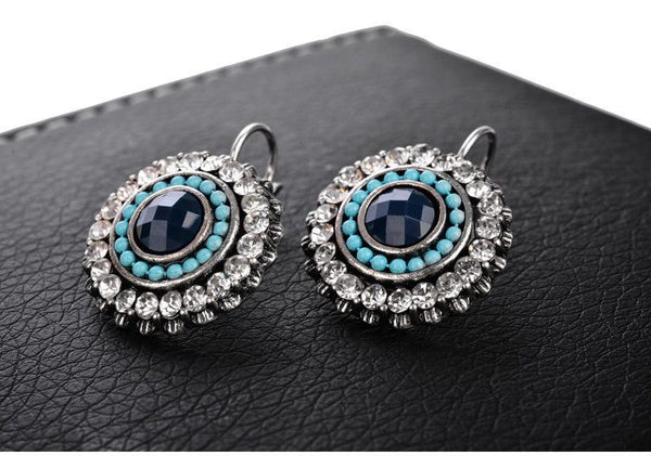 Beautiful Blue Bead and Crystal Drop Earrings in SilverDrop Earrings,  - Things to Zen About