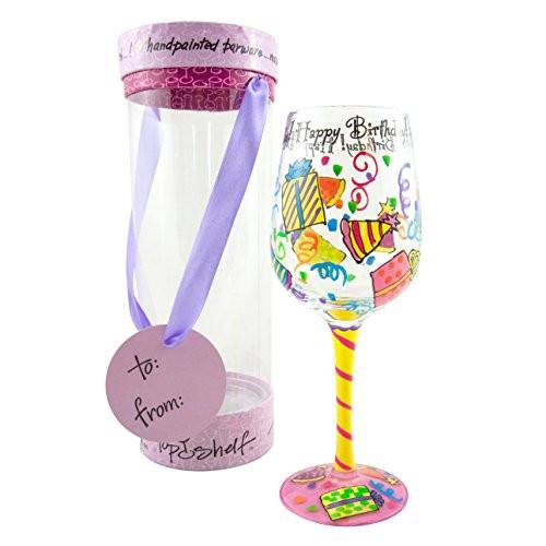 Hand Painted 'Happy Birthday' Wine Glass - Great Zen gifts for all life's exciting celebrations!Hand-Painted Glasses,  - Things to Zen About