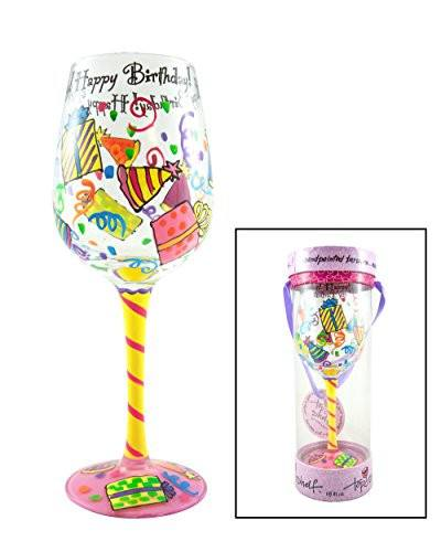 Hand-Painted Glasses - Hand Painted 'Happy Birthday' Wine Glass - Great Zen Gifts For All Life's Exciting Celebrations!