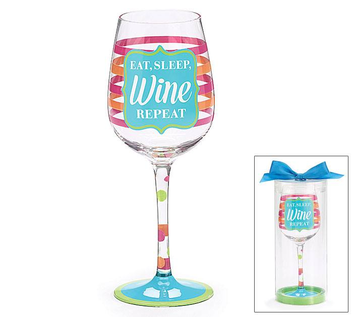 Hand-Painted Wine Glass - Eat, Sleep, WineHand-Painted Glasses,  - Things to Zen About