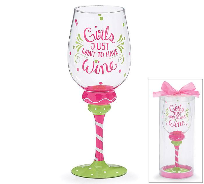 Hand-Painted Wine Glass - Girls Just Want to Have FunHand-Painted Glasses,  - Things to Zen About