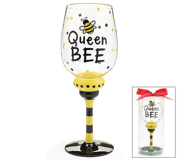 Hand-Painted Wine Glass - Queen BeeHand-Painted Glasses,  - Things to Zen About