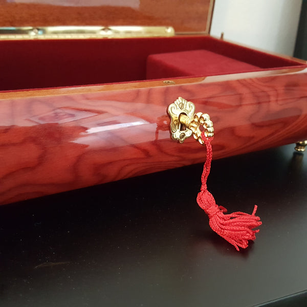 Italian Hand-Crafted Inlaid Red Walnut Wood Jewelry Music Box, Reuge Romance Mechanism Plays L'Arnaque S. Joplin, Floral Bouquet InlayMusic Jewelry Box,  - Things to Zen About